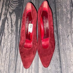 Charles Jourdan Red Suede Shoes Size 8.5